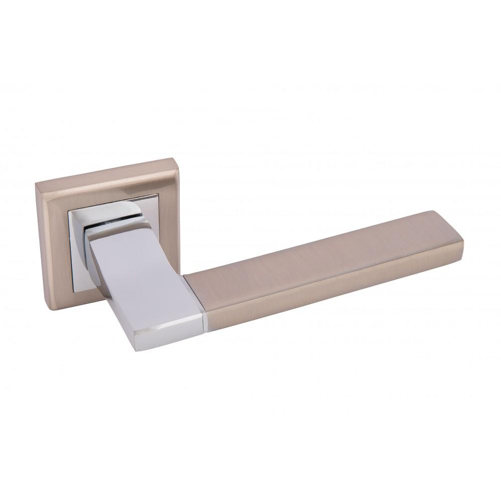 Дверная ручка Rodos ROD-L471 матовый никель/хром полированный (TYPE 1) 21502